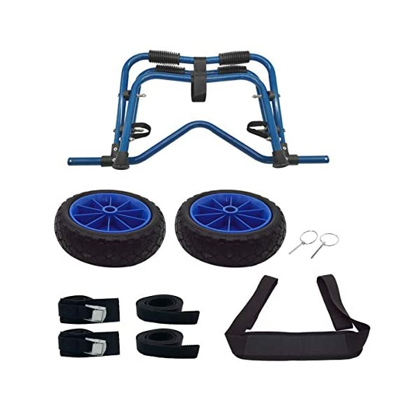 Newcod kayak cart kayak trolley carrier dolly trailer for canoe boat with no-flat airless tires wheels 8 【good quality】22x1. 5mm aluminum tube with rubber pads. 【pu wheel】with two pu solid wheels, don't need to inflate. 【capacity】this kayak cart can be loaded 165lbs.