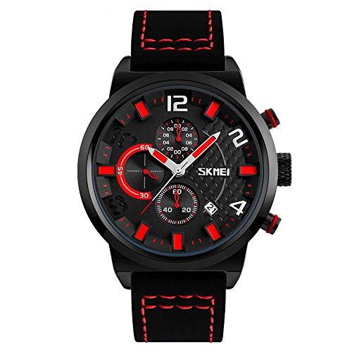 Reloj para hombre, reloj cuarzo correa cuero seis clavijas, relojes ocio deportivos negocios moda, reloj pulsera militar para exteriores resistente agua 3ATM, batería original larga duración de 1 año