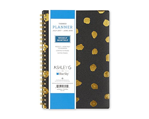 Ashley G for Blue Sky July 2017 - June 2018,Academic Year Weekly & Monthly Planner, Twin-Wire Bound, 5' x 8', Messy Dot Design