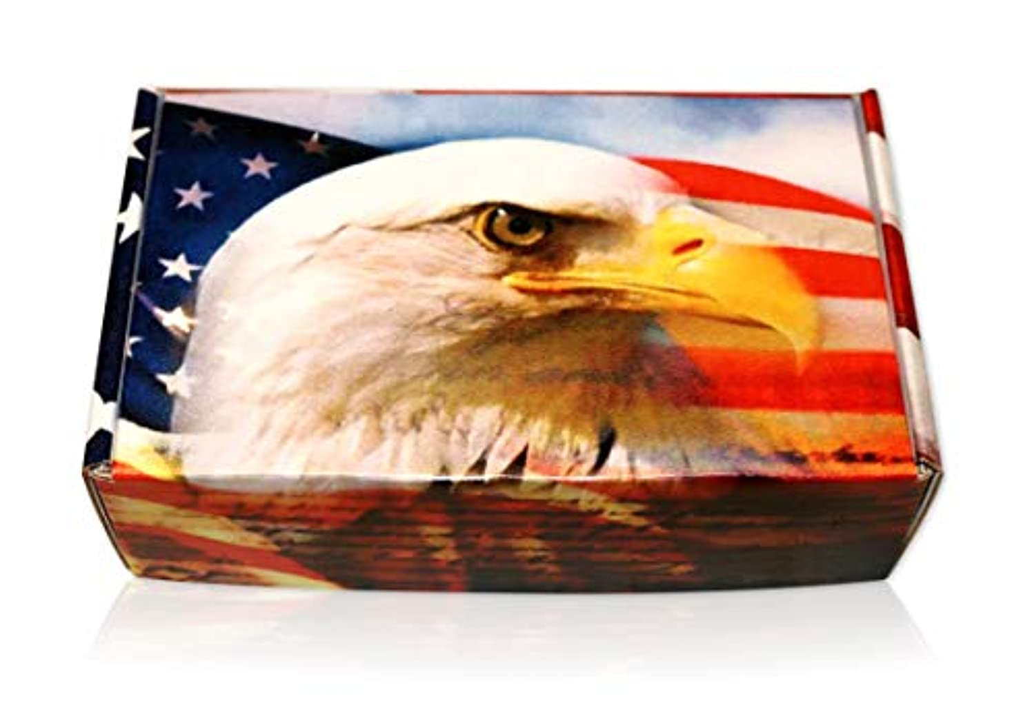American Eagle USA Flag Gift Boxes Perfect America US Box to Fill with Gifts for Family, Partners, Loved Ones, Friends, Relatives, Co-Workers (1 Box)