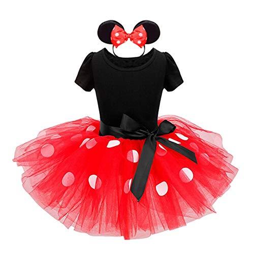 T TALENTBABY Baby Girls Disfraz de Dibujos Animados Disfraz de Princesa para niños Lunares Disfraz de tutú de Ballet con Diadema de Oreja Rojo, 6-12 Meses
