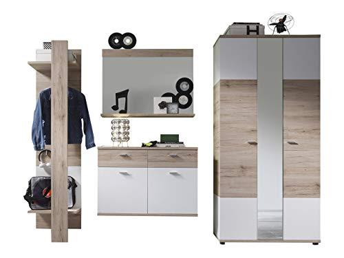 trendteam smart living Garderobe 4tlg.-Set Campus, 245 x 190 x 38 cm in Eiche San Remo (Nb.) und Weiß mit viel Stauraum