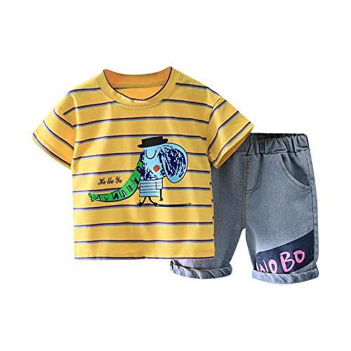 Bebé 2 Piezas Traje de Ropa Deportiva para Niño Pequeño Conjunto Informal Chándal Camiseta de Manga Corta / Chaleco + Pantalones Cortos Ropa Verano para Chicos (Raya-Amarillo, 6-12 Meses)