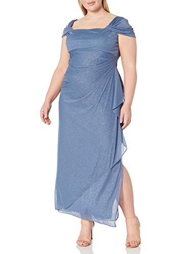 Alex Evenings Women's Plus Size Cold-Shoulder Dress Side Ruched Skirt, Dusty Blue Glitter, 24W