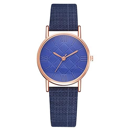 XIAOQIAO Reloj de Cuero de la Moda de Las señoras, Vestido de Cuarzo de Vestir, Reloj de Lujo Blanco Casual de Las Damas (Color : Small Blue)