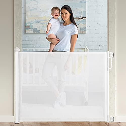 Momcozy Barrera Seguridad Niños Escalera, 0-140cm Retráctil Puertas de Seguridad para Niños Versión Mejorada, Uso Más Suave y Silencioso, para Escaleras y Pasillos, Interiores y Exteriores, Bl