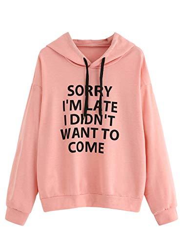SweatyRocks Sweatshirt Women's Pullover Sweatshirt Letter Print Hoodie Burgundy #8 M