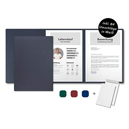 5 Stück 3-teilige Bewerbungsmappen favorit 'Sea Blue' mit 2 Klemmschienen - inkl. 5 Versandtaschen in Weiß - Premium-Karton mit eindrucksvoller Relief-Prägung BEWERBUNG - Produkt-Design von Mario Lemani