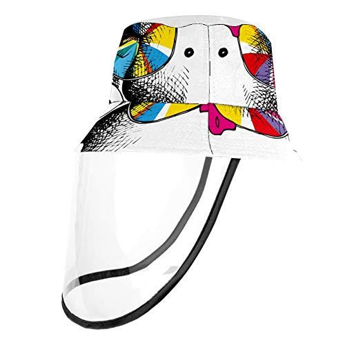 Henghenghaha Fischerhut mit UV-Schutz, abnehmbarer Schutzhut für Männer und Frauen, Sonnenbrille Affe in Regenbogenfarben, Head Circumference 22.6 In(57. 5cm)