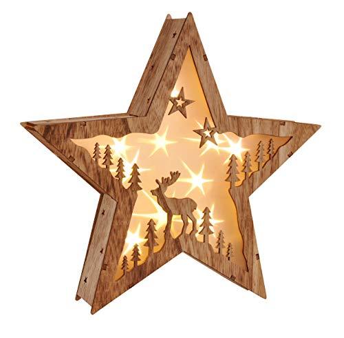 """LED Weihnachtsstern Beleuchtung Fensterbeleuchtung \""""STERN\"""" schöner Holzstern mit 10 warmweißen LEDs"""