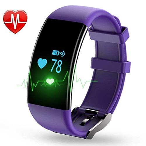 YOUNGFUN Fitness Tracker D21, Activity Tracker Watch with Heart Rate Monitor, Waterproof IPX12 with Step Counter, Calorie Counter, Pedometer Watch, Compatible with Android iOS{Purple}