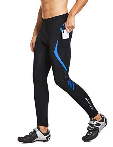 BALEAF Men's Bike Cycling Pants 4D Padded Bicycle Tights MTB Riding Leggings Zipper Pockets Quick Dry Blue L