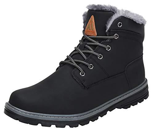 Mishansha Winterstiefel Damen Kurzschaft Stiefel Warm Gefüttert Boots Winter Frauen Schuhe Outdoor Stiefel rutschfest Schwarz Gr.39 EU