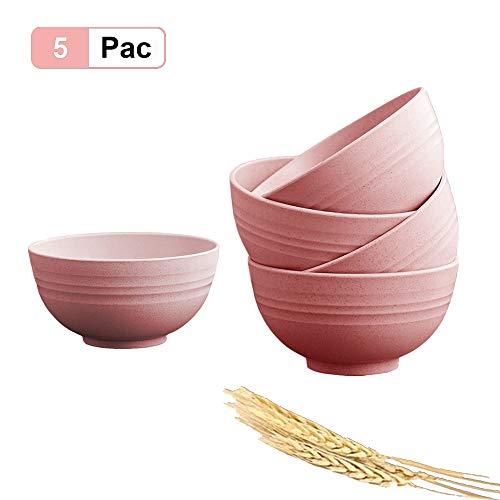 5 Piezas Cuenco Cereales, 24 oz irrompibles Bol Cereales Bowls Cocina Ensaladeras Vajilla Tazones de Consomé, Aptos para lavavajillas y microondas para niños, arroz, tazones para sopa Tazones (Rosado)