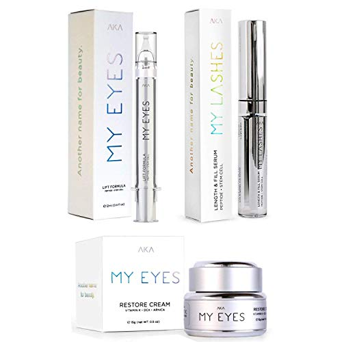 MY LASHES | LENGTH & FILL SERUM PEPTIDE + MY EYES | LIFT FORMULA Best Eye Gel for Wrinkles + MY EYE RESTORE CREAM VITAMIN K