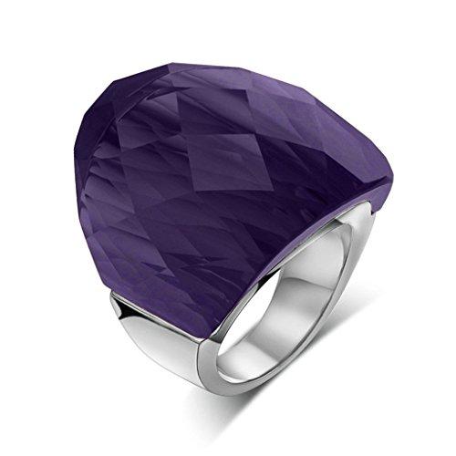 Daesar Joyería Mujer Anillo Compromiso Acero Púrpura con Diamante de Imitacón para Mujer Joven Boda, 1pc, Talla 12
