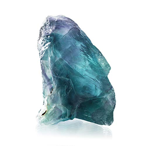 CXD-GEM Natural Rainbow Fluorite Crystal Specimen Raw Stone for Collection w/Info Card (1.5-2.2 inch)