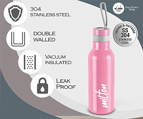 Milton New Smarty 600 Thermosteel Water Bottle, 490 ml, Pink