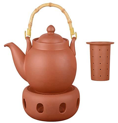 Aricola Ton Teekanne Tenno 0,8 Liter mit Tonsieb, Bambushenkel und Stövchen. Handgefertigt, Original