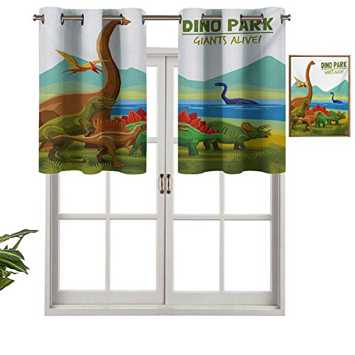 Hiiiman Small Window Valance Curtains Home Decor Flying Swimming and Land Dinosaurs with Lake and Mountains Dino Park Alive Theme, Set of 2, 54'x24' for Kitchen Dining Girls Room Light Filtering