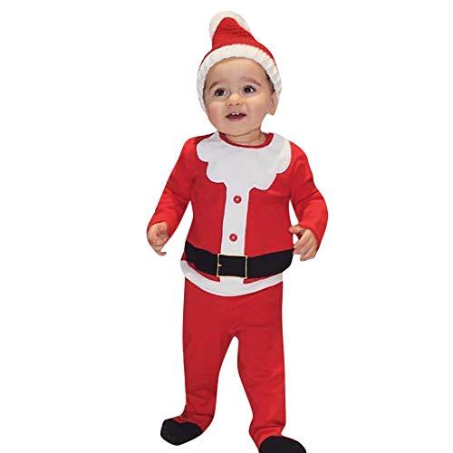 0-24 Meses Bebe Disfraz Navidad Duende Tops + Pantalones + Gorra Navidad Conjunto Ropa para Recien Nacido Nia Nio