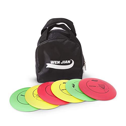 WEN JIAN Disc Golf Set, Disc Golf Starter Set with 6 Discs-2 PCS Driver, 2 PCS Mid Range, 2 PCS Putter, Include Starter Disc Golf Carry Bag
