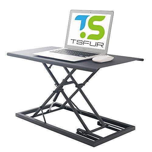"TSFUR Desktop Standing Desk Converter - 0.9"" Ultra Thin Metal Computer Laptop Desk Stand - Portable Office Small Ergonomic Height Adjustable Sit Stand Up Desk - Office SuppliesAccessories (Black)"