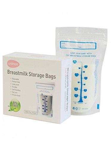 Unimom 60 Breast Milk Storage Bags - Self Standing, Freezer Safe, Leak Proof Zip Top Closure, Pre Sterilized, BPA Free, Marked Measurements – 7oz – by Unimom