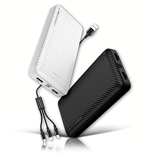 Amanneh Power Bank 20.000 mAh Cargador rápido portátil con 2 entradas y 2 salidas Cargador LED + Cable multifunción 3 en 1 compatible con iPhone, Samsung, USB C, Android Consola Tablet.