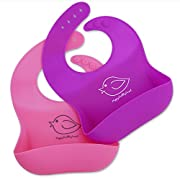 Happy Healthy Parent Silicone Baby Bibs Easily Wipe Clean! Comfortable Soft Waterproof Bib Keeps Stains Off! Set of 2 Colors (Pink/Purple)