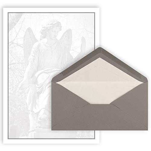 25x Trauerbrief A4 mit Umschlag Din Lang 22 x 11 cm - grauer Trauerrand mit Engel Motiv - Premium Qulität für Traueranzeigen - Trauerdanksagung - Trauerpost