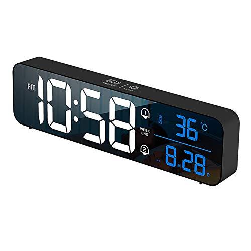 Baoblaze Reloj Despertador Digital de Temperatura Interior para Habitaciones, pequeño e Inteligente Reloj de Mesa de Noche de Regalo - Negro