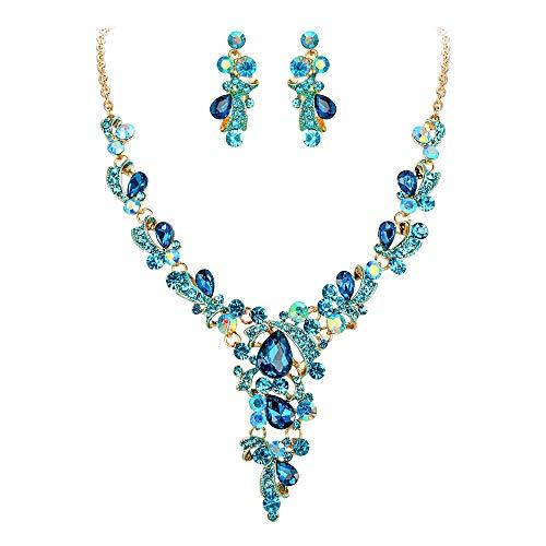 Clearine Schmuckset Party Hochzeit Braut Kristall Blatt Vine Tropfen Hollow Statement Halskette Ohrringe Set Blau Gold-Ton
