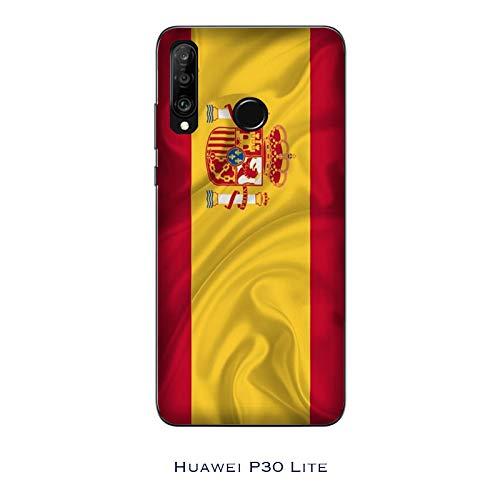 Desconocido Funda P30 Lite Carcasa Huawei P30 Lite Banderas de la Ciudad España/Cubierta en TPU Silicona/Cover Antideslizante Antideslizante Antiarañazos Resistente a Golpes Protectora Suave