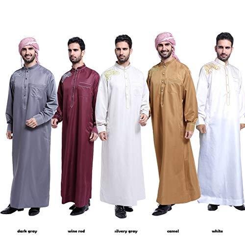 Longspeed TH804 Männer Moslemische Tunika Arabischer Naher Osten Kurzarm Kaftan Knopf Robe Islamische Saudi Arabien Cavta Dubai Abaya Arab - Kamel Farbe M