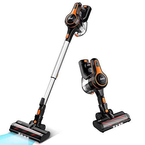 INSE Cordless Vacuum Cleaner 23000Pa Powerful Suction with 250W Digital Motor, Handheld Stick Vacume Lightweight Quiet Rechargeable 2500mAh for Hardwood Floor Carpet Pet Hair Car - S600