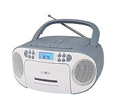REFLEXION CD-speler met cassette en radio voor netbediening en batterijbediening (PLL FM-radio, LCD-scherm, AUX-ingang, hoofdtelefoonaansluiting), wit/blauw, RCR2260*