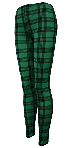 Islander Fashions Damen Plain Stretchy Leggings Damen voller L�nge gedruckt d�nne Legging Hosen Tartan Green X gro�e EU 44-46
