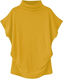 TUDUZ Blouse Women's Blouses Elegant Turtleneck Short Sleeve Casual 6XL Yellow