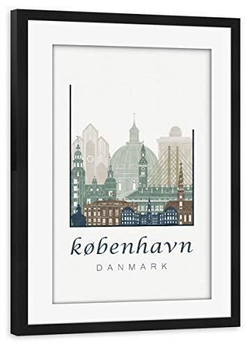 artboxONE Poster mit Rahmen schwarz 60x40 cm Copenhagen Skyline Light Blue von GREENGREENDREAMS - gerahmtes Poster