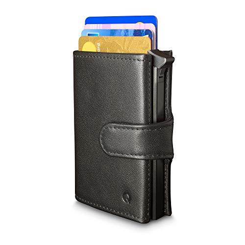 Cartera Qokle con bloqueo RFID para hombres | Con Tarjetero Duro | Eyector de tarjeta | Premium Cuero Genuino | Diseño Delgado con Bolsillo para las Monedas | La cartera más Completa