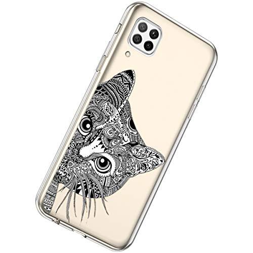 Herbests Kompatibel mit Huawei P40 Lite Hülle Silikon Weich TPU Handyhülle Durchsichtige Schutzhülle Niedlich Muster Transparent Ultradünn Kristall Klar Handyhülle,Schwarze Katze