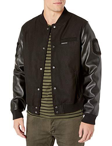 Members Only Men's Varsity Jacket, Black, Large