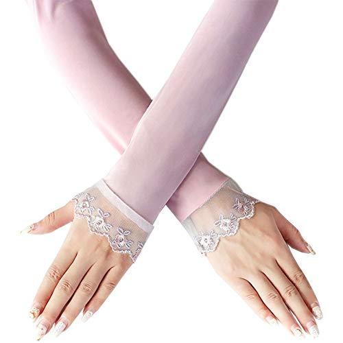 Rebily Polyester-Sommer-Sonnenschutz Breathable Ice Silk Ultradünner Loser federnder Armschutz Frau Langer Abschnitt Anti-UV-Antrieb, der im Freientourismus reitet (Color : Pink)