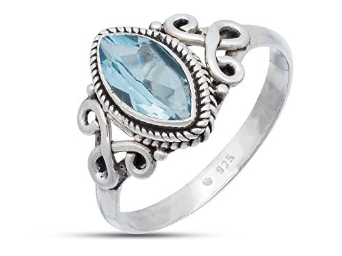 Anillo de plata de ley 925 azul topacio (No: MRI 183), Ringgröße:52 mm/Ø 16.6 mm