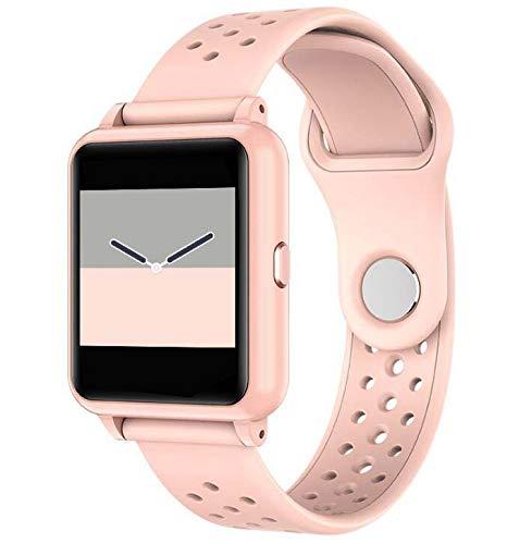 Fitness Tracker Pulsera inteligente, IP67 Rastreador de actividad impermeable con temperatura corporal Monitor de sueño Reloj contador de calorías, Pulsera inteligente para mujeres y hombres,Rosado