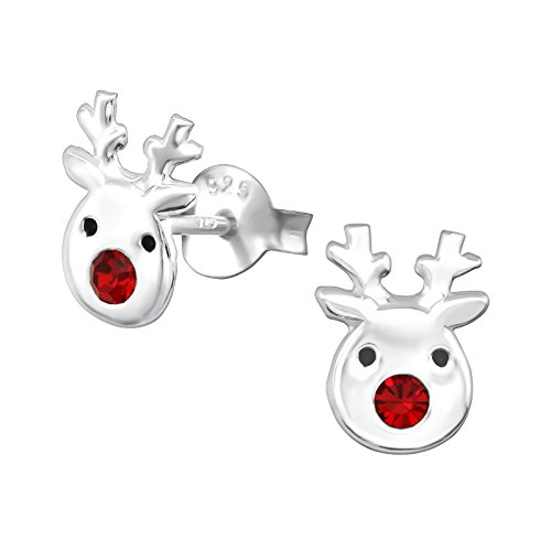 Katy Craig, Sterling Silver Reindeer Earrings with Red Crystal Stone Nose Christmas