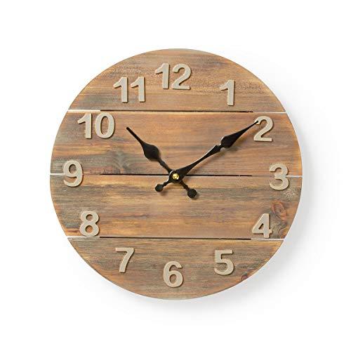 Wanduhr Ø 30 cm, rustikale, batteriebetriebene Küchenuhr in Holzoptik, braune Holzuhr, große Ziffern, ohne Tickgeräusche