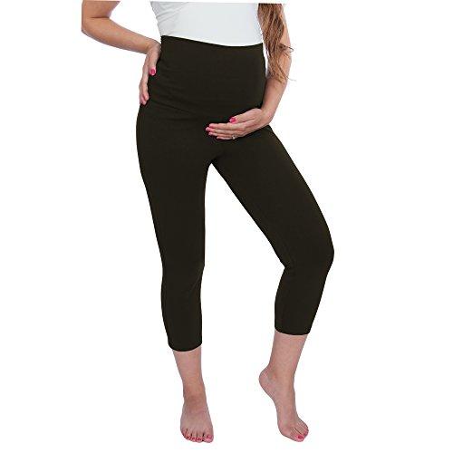 My Bella Mama Maternity Capri Leggings (Small, Black)