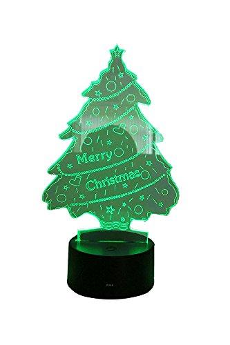 LED Nachtlicht (Weihnachtsbaum) mit 7 Farben. Betrieb wahlweise mit Batterie oder USB Anschluss möglich. 3D Illusion.